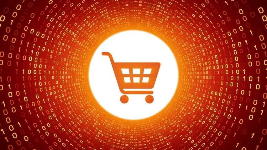 Video stock a tema Orange Shopping Cart Icon Form (100 royalty