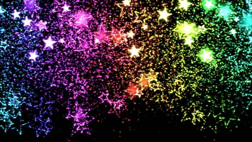 Starry Fall Night Wallpaper Falling Star Shapes Background Animation Loop Rainbow