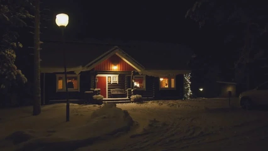 Snow Falling Wallpapers Free Download Pov Cozy Wooden House In Winter Forest At Night Finland