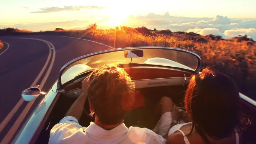Animated Couple Kissing Wallpaper Happy Couple Driving On Country Road Into The Sunset In