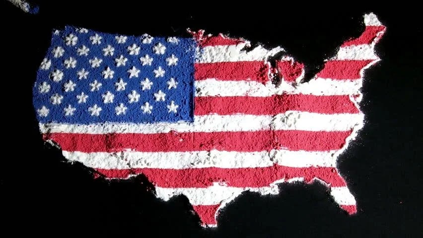 Us Map and Flag Contiguous Stock Footage Video (100 Royalty-free