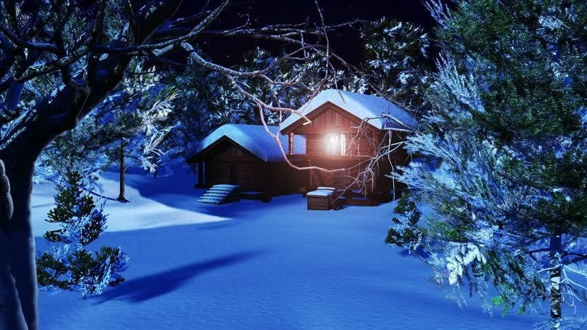 Christmas Snowy Scene 3d Animation Stock Footage Video (100