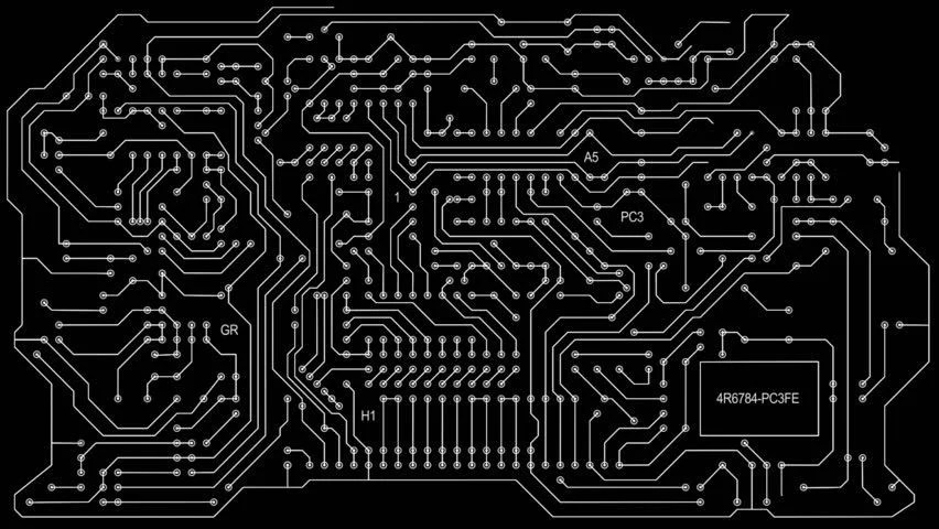 Printed Circuit Board Animation Alpha Stock Footage Video (100