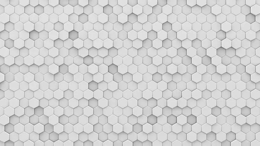 Grey Brick Wallpaper 3d White Hexagonal Hi Tech Background Loop 3d Rendering