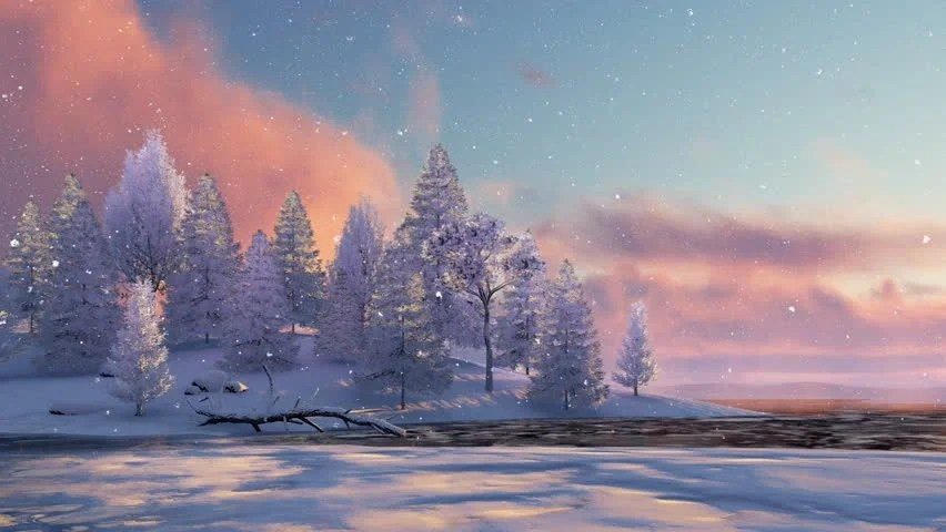 Free 3d Snow Falling Wallpaper Dreamlike Winter Scenery With Snow Covered Fir Tree Forest
