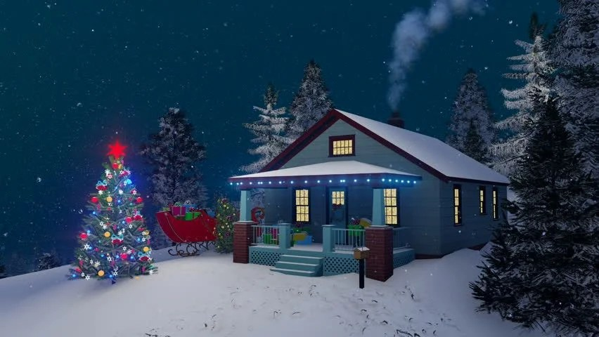 3d Snowy Cottage Animated Wallpaper Free Download Dreamlike Winter Scene Illuminated Christmas Tree And