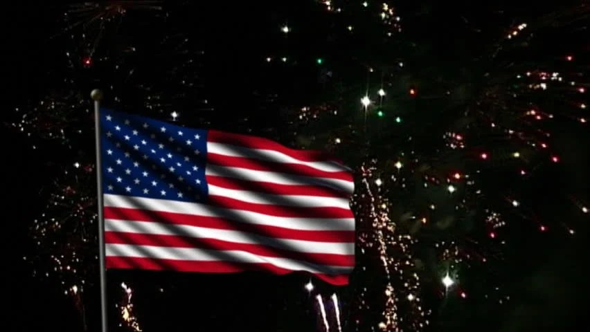 Stock video of animation of american flag and fireworks 2569148