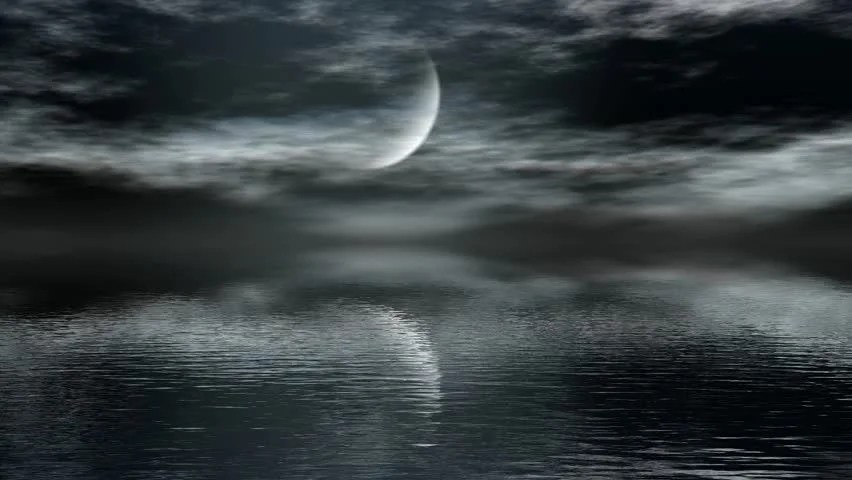 Shutterstock Wallpaper 3d Moon Time Lapse With Reflection Over Ocean Stock Footage