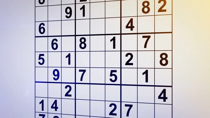 Solving Sudoku Puzzle Animation Stock Footage Video (100