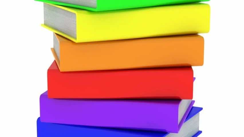 Books White Background, Loop Stock Footage Video (100 Royalty