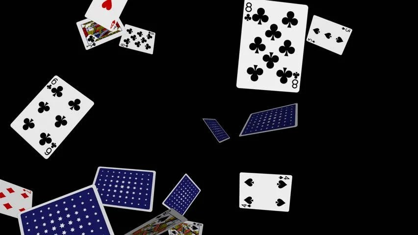 Falling Hearts Wallpaper Playing Cards Flying 2 Loop Alpha Channel Slow