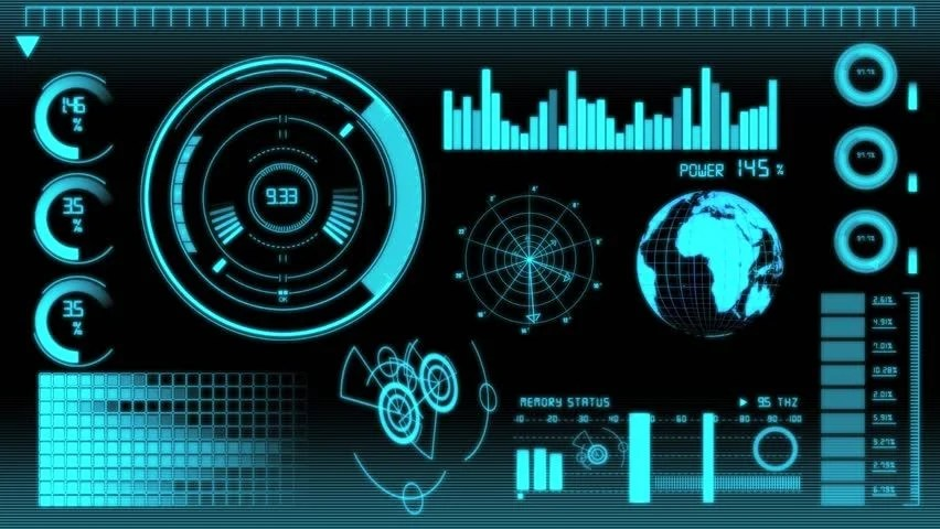3d Holograms Wallpaper Futuristic Technology Interface Computer Data Screen Stock