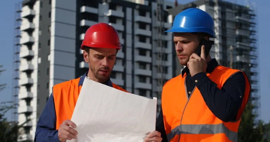 Stock Video Clip of Portrait Team of Successful Engineer Men Work