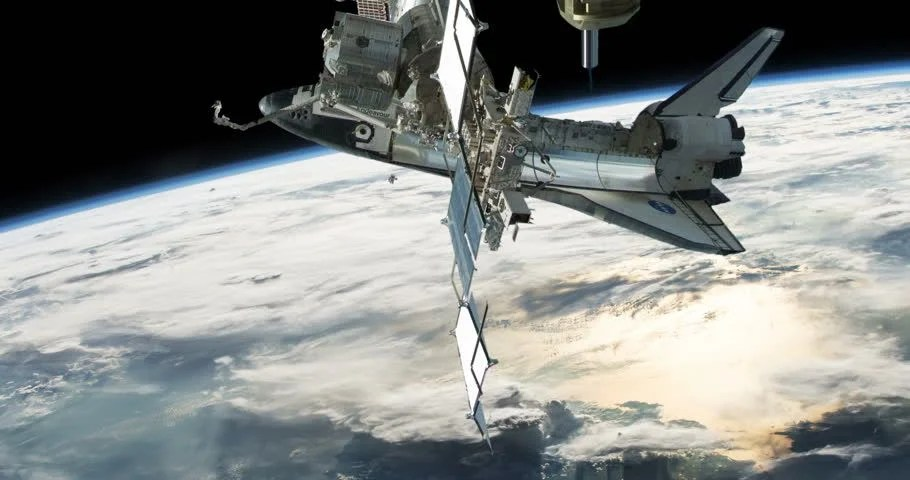 Astronaut Spacewalk with Space Shuttle Stock Footage Video (100