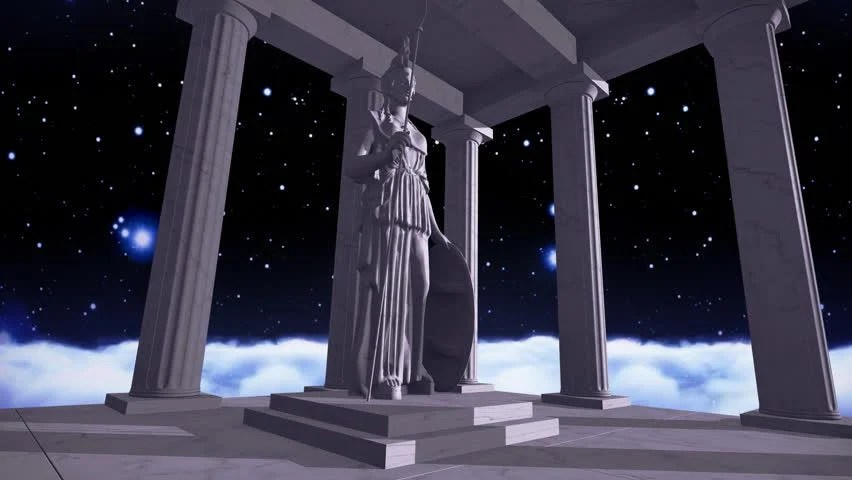 Animated Stars Wallpaper Cosmic Scene With Greek Pillars And The Ancient God Zeus