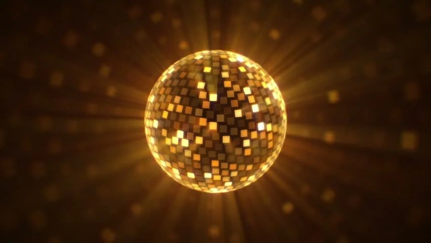 Animated New Year Wallpaper Fly Around Golden Disco Ball Stock Footage Video 100
