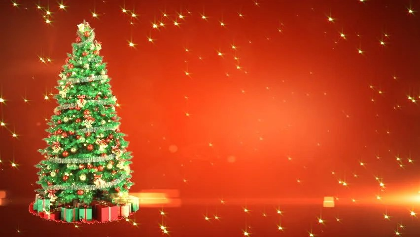 Christmas Tree On Red Background Stock Footage Video (100 Royalty