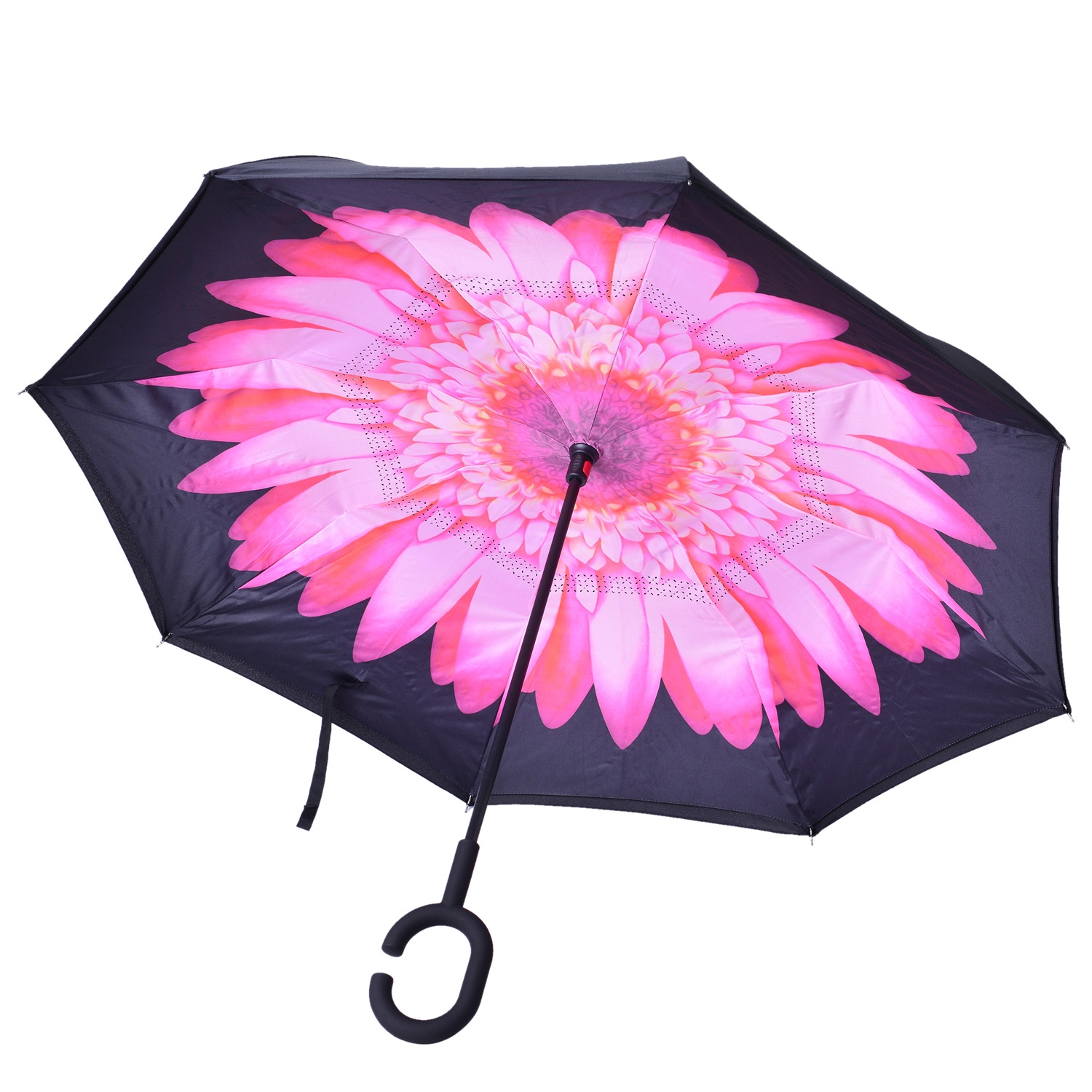 Pink Tv Online Pink Flower And Black Polyester Double Layer Inverted Umbrella With Black Handle 32 In