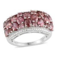 Malaya Garnet, Diamond Platinum Over Sterling Silver Ring ...