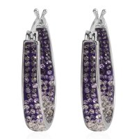Purple and White Austrian Crystal Silvertone Inside Out ...