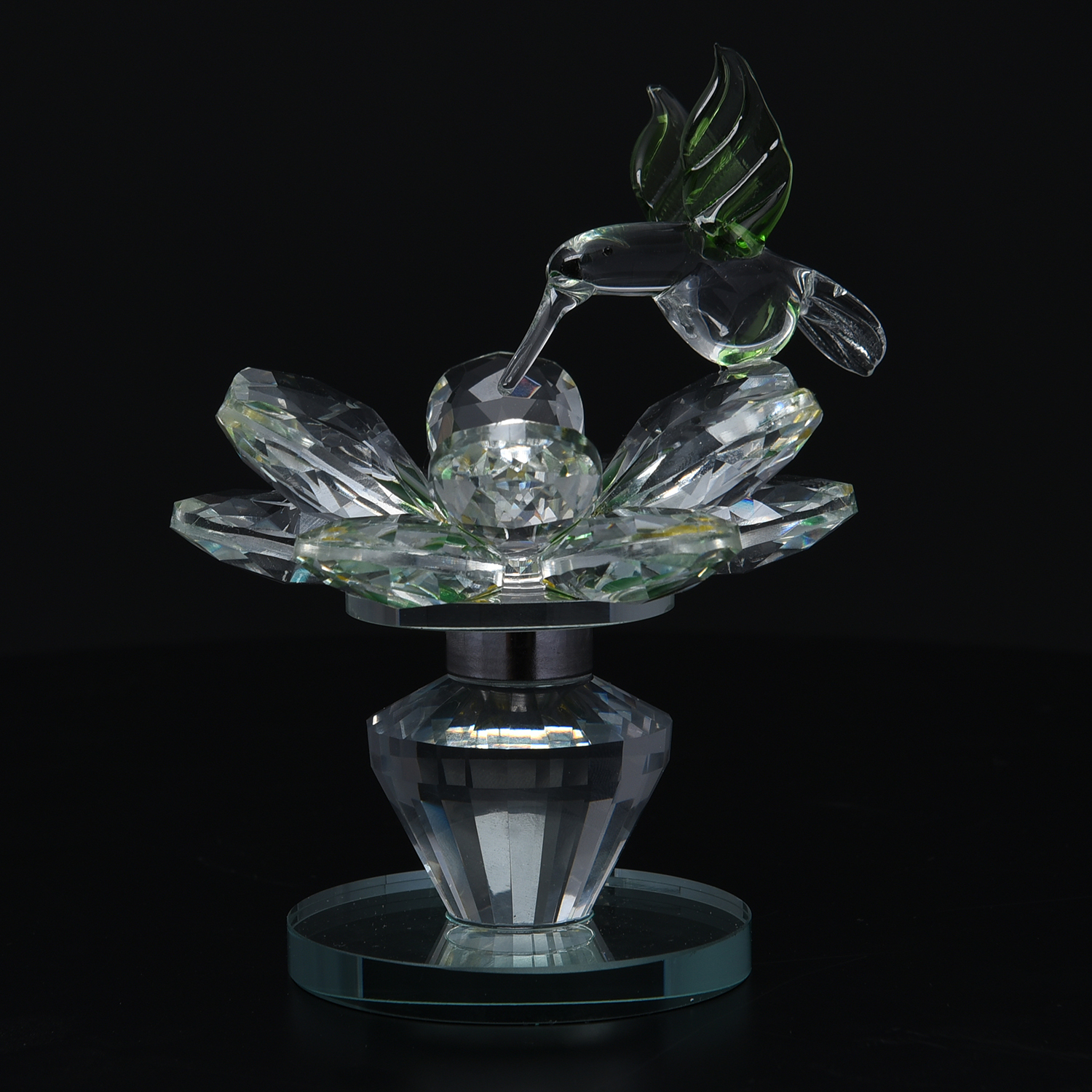 Crystal Decorations For Home Yellow And Green Glass Rotatable Crystal Lotus Flower