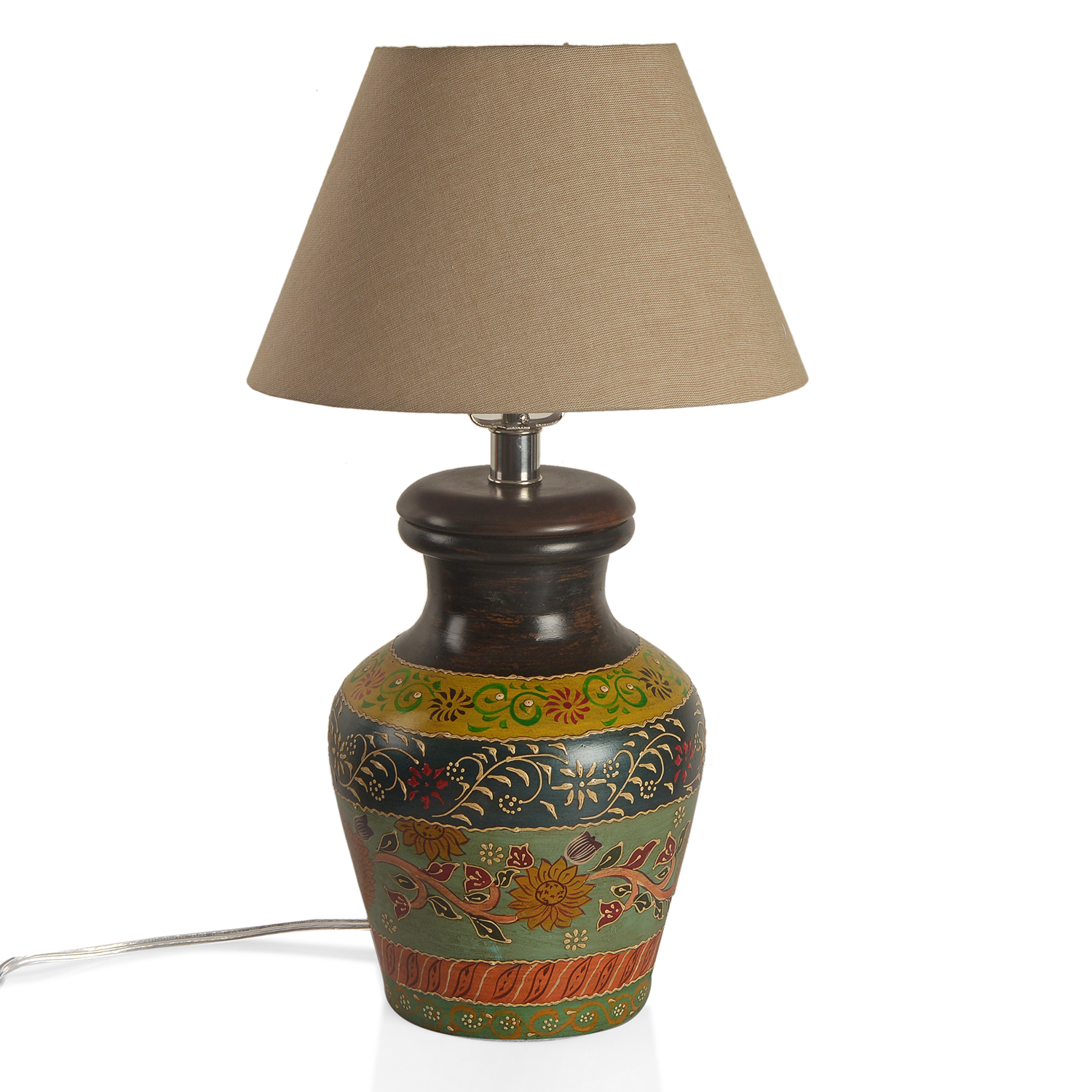 Pot Table Lamps Hand Painted Electrical Multi Color Floral Pattern