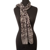 Black and White 100% Silk Scarf (60x18 in)