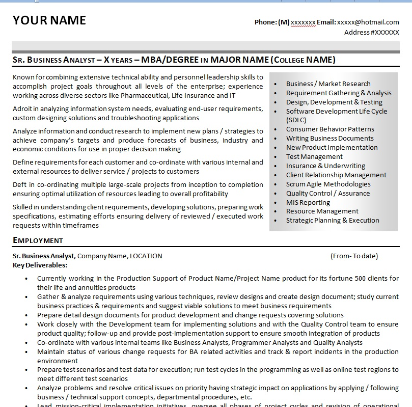 business analyst resume for insurance industry 5 business