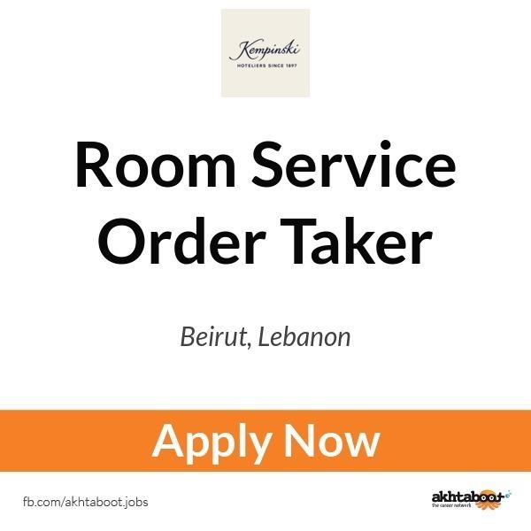 Room Service Order Taker job at kempinski in Beirut, Lebanon