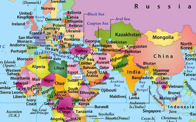 Top 10 countries with most number of neighbours - Education Today News - best of world map hungary syria