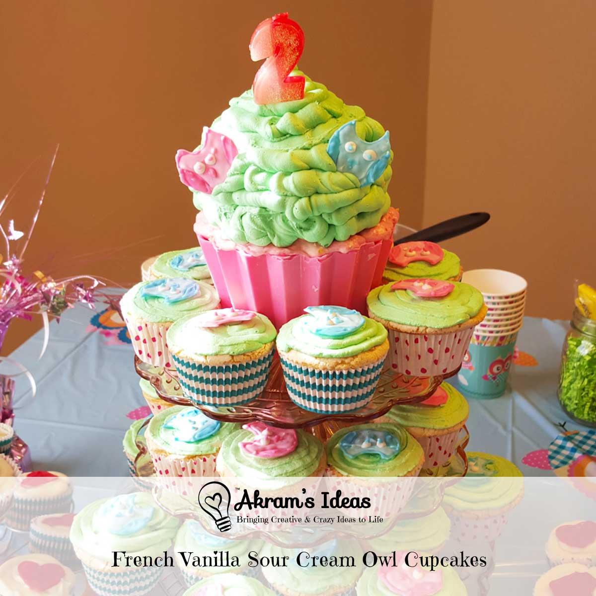 French Vanilla Sour Cream Owl Cupcakes