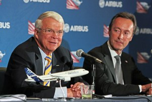 Allan McArtor, Airbus Group, Inc. Chairman and CEO, left, and Fabrice Bregier, Airbus President and CEO, offer remarks during a press briefing Sunday, Sept. 13, 2015, in Mobile, Ala. (Mike Kittrell/Alabama NewsCenter)