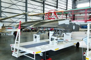 The transhipment hangar, the first stop for major component assemblies -- such as wings, horizontal and vertical stabilizers; the rear fuselage, including the tail cone; and the forward fuselage, including the cockpit -- after they arrive in Mobile via cargo ship, is pictured during a media tour of the Airbus U.S. Manufacturing Facility on Sunday, Sept. 13, 2015, in Mobile, Ala. (Mike Kittrell/Alabama NewsCenter)