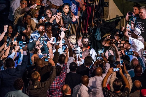 The champ enters in front of his home crowd. (Nik Layman/Alabama NewsCenter)