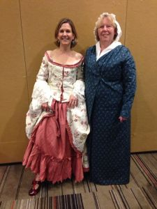 Beverley Eikli and Bronwyn Parry in Georgian costume at RWA conference
