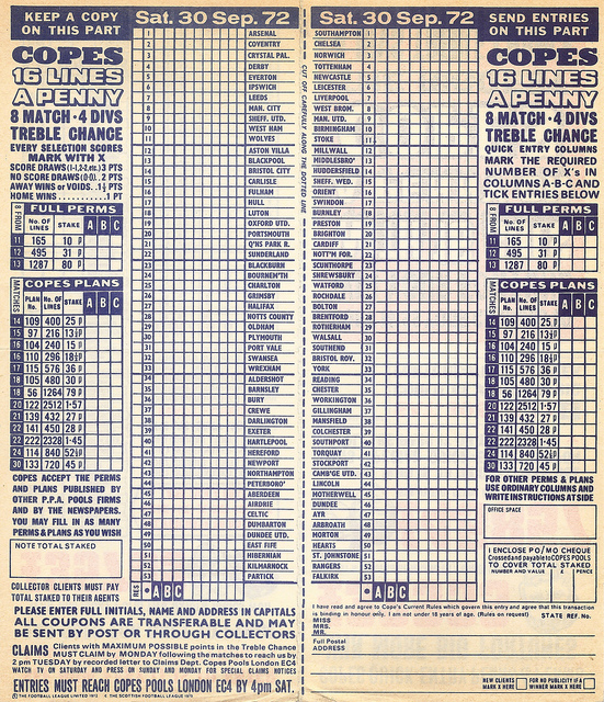 football pools Remembrance of Things Past