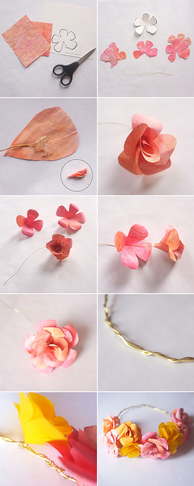 paper flower crown tutorial