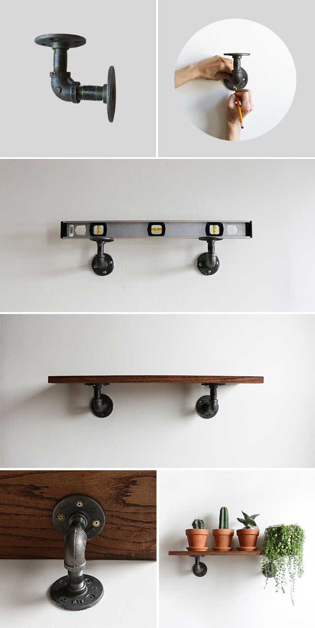 Diy industrial wall shelves alana jones mann for Diy industrial bookshelf