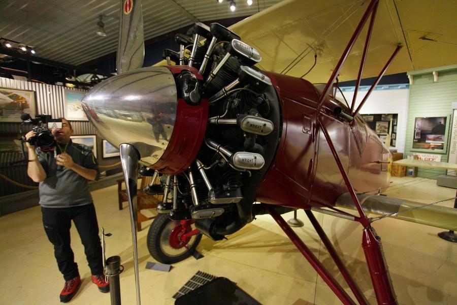 Cameraman filming the Stearman C2B at the Alaska Aviation Museum.