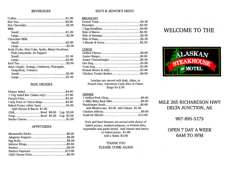 Restaurant Menu Alaskan Steakhouse  Motel