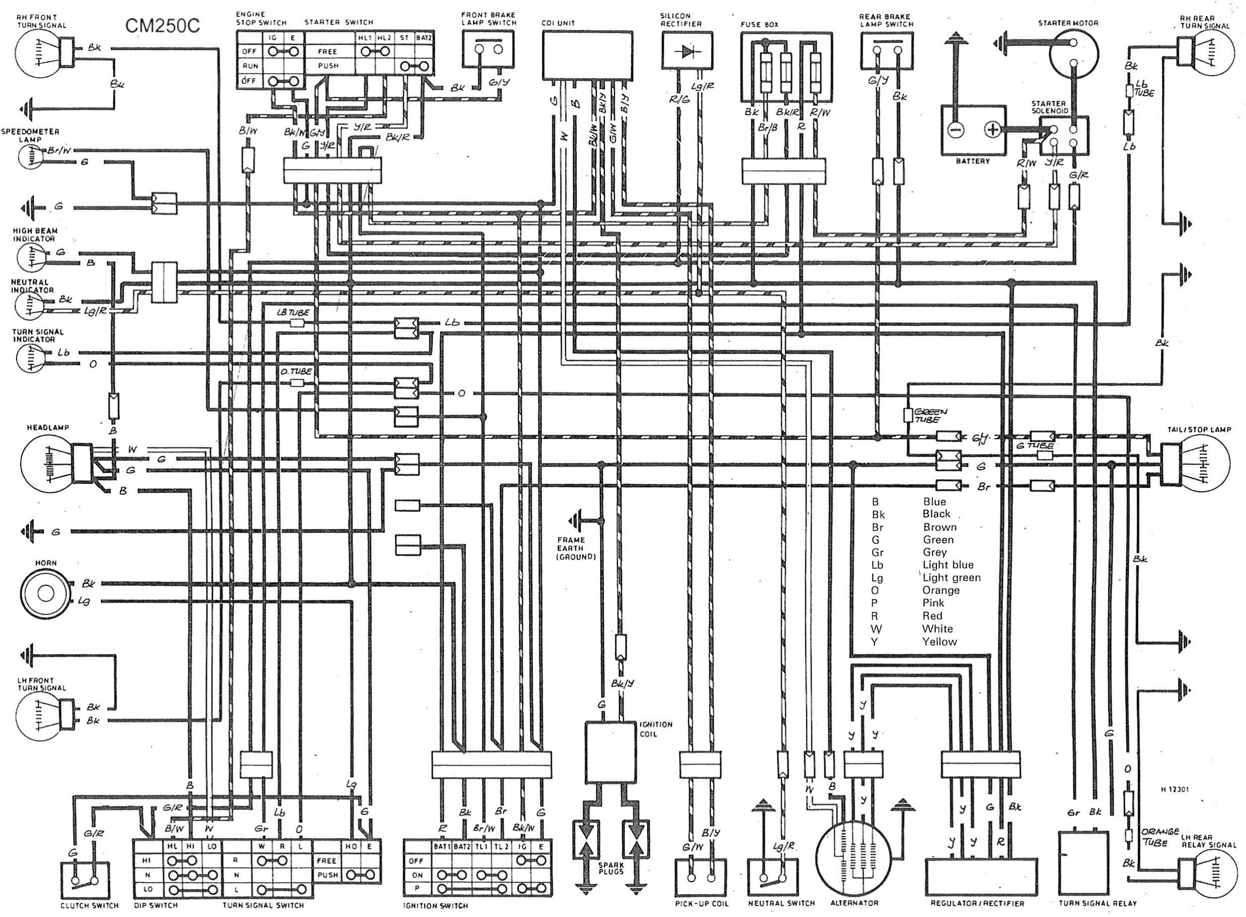 yamaha colour motorcycle wiring loom diagrams