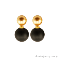 Double pearl earrings with gold pearl and black pearl ...