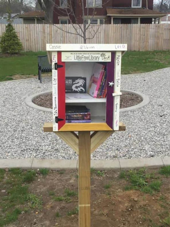 Little Free Libraries are part of the landscape in several Albion Parks. There are free books inside, take one or leave one. This is one was the Albion Big Read books are distributed.