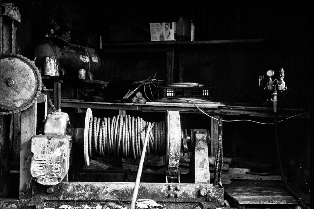 Winch - Agfa Scala 200X shot at ISO200. Black and white reversal (slide) film shot in 35mm format. Black and white reversal processed.