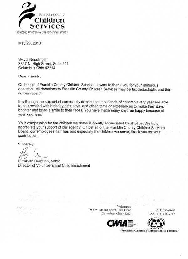 Thank You Letters Assistance League Metro Columbus - country of origin letter