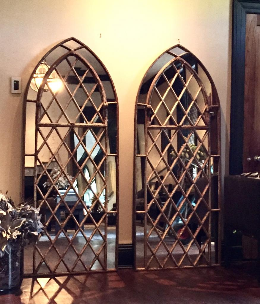 Free Standing Mirror Very Gothic Garden Arched Diamond Design Window Mirrors Arched