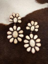 Western Flower Stone Earrings ( White ) - Ale Accessories