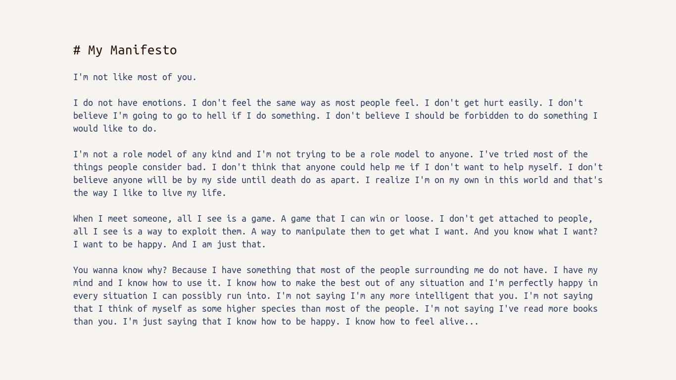 Personal Manifesto Template - Costumepartyrun