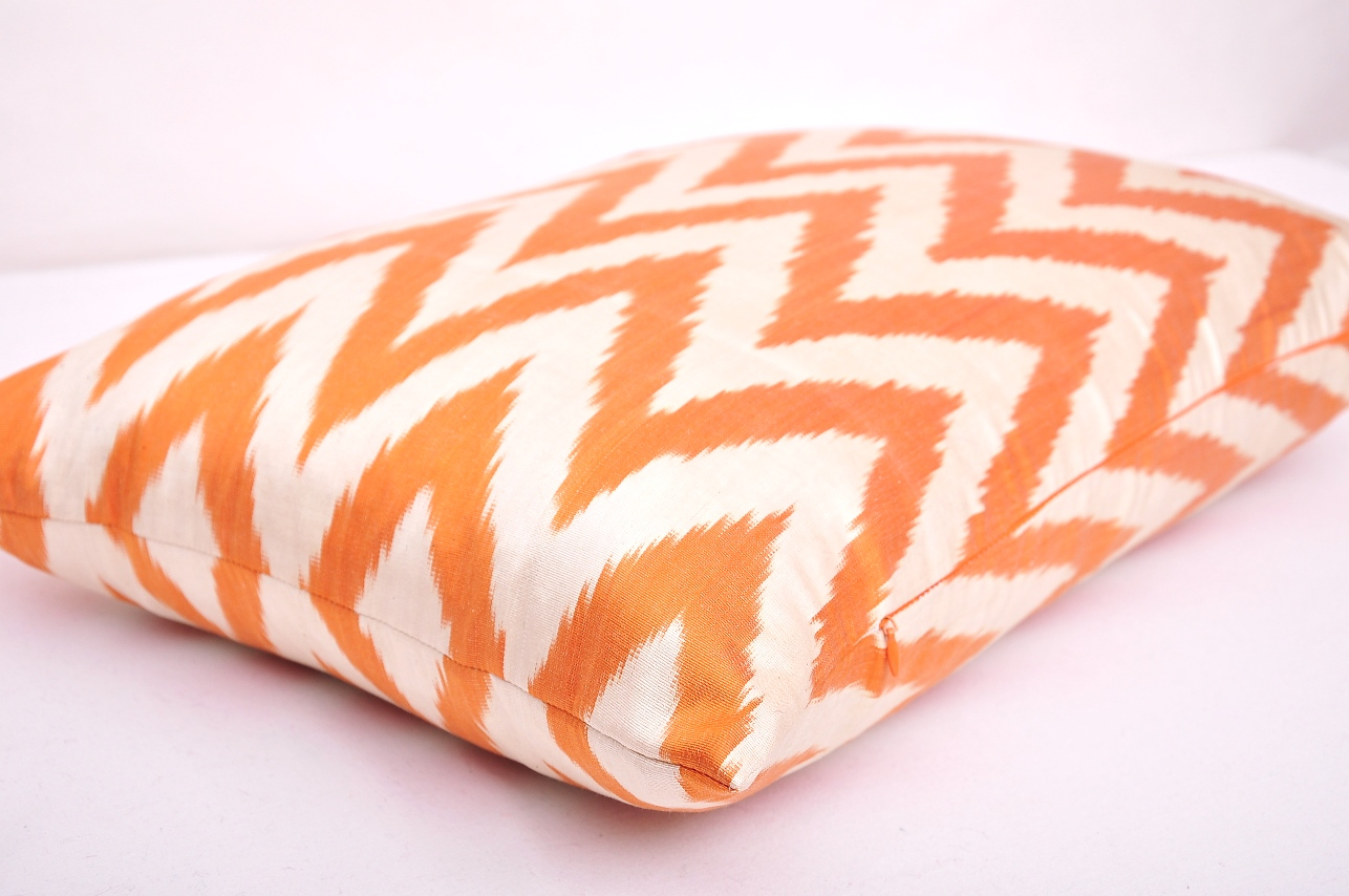Pillows Online Sale Orange Chevron Silk Ikat Lumbar Pillow Cushion Sale Online