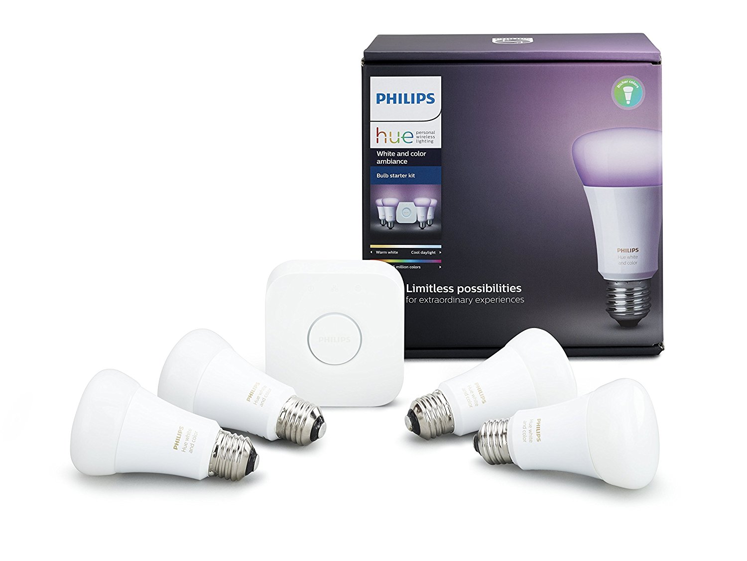 Hue Pack Philips Hue White Colour Ambiance A19 4 Pack Starter Kit Alexa